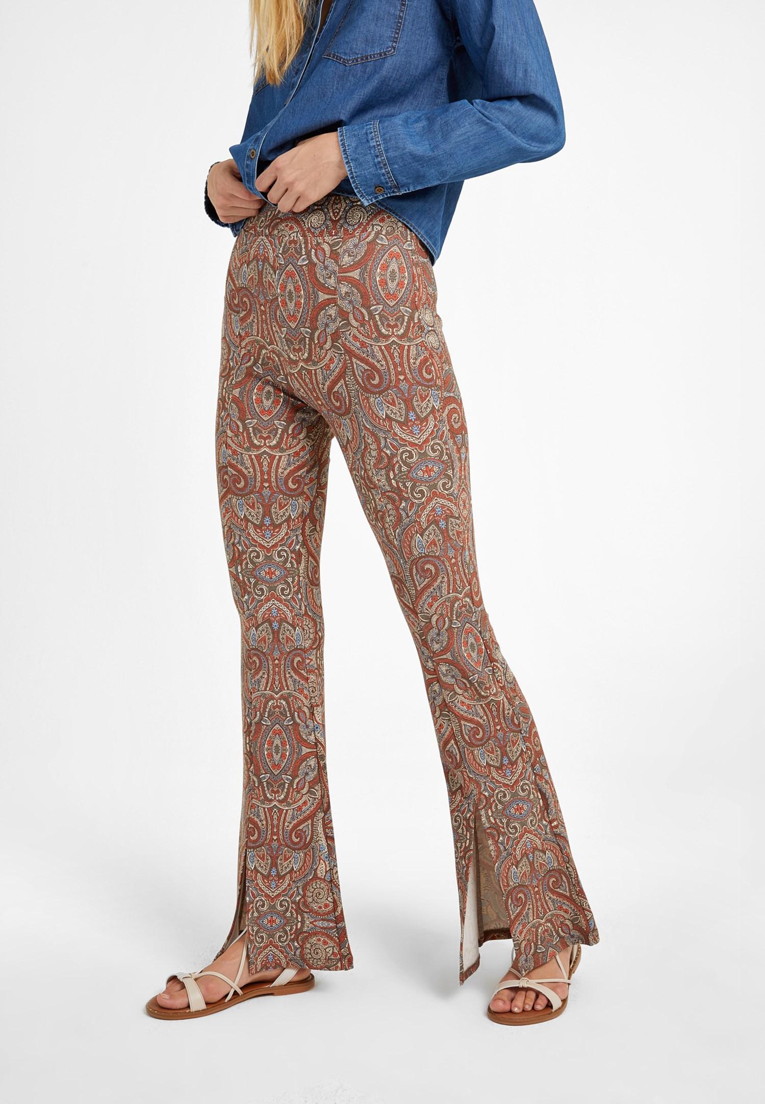Bayan Çok Renkli Yırtmaç Detaylı Flare Tayt Pantolon