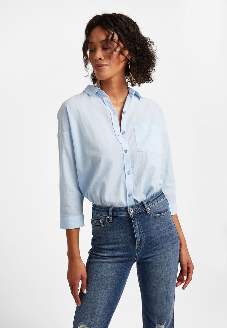 Blue 3/4 Arm Cotton Shirt