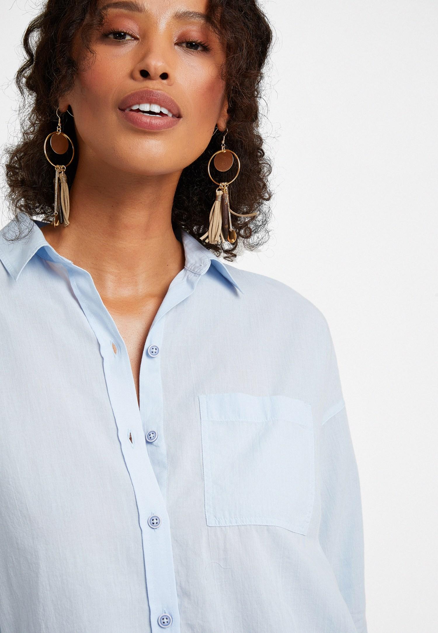 Bayan Mavi Şerit Detaylı Bol Kesim Gömlek