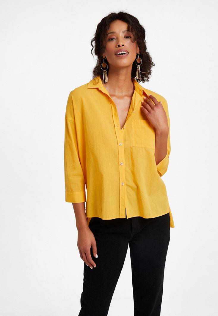 Sarı Şerit Detaylı Bol Kesim Gömlek