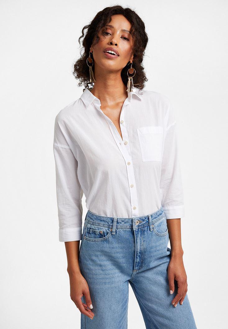 Beyaz Şerit Detaylı Bol Kesim Gömlek