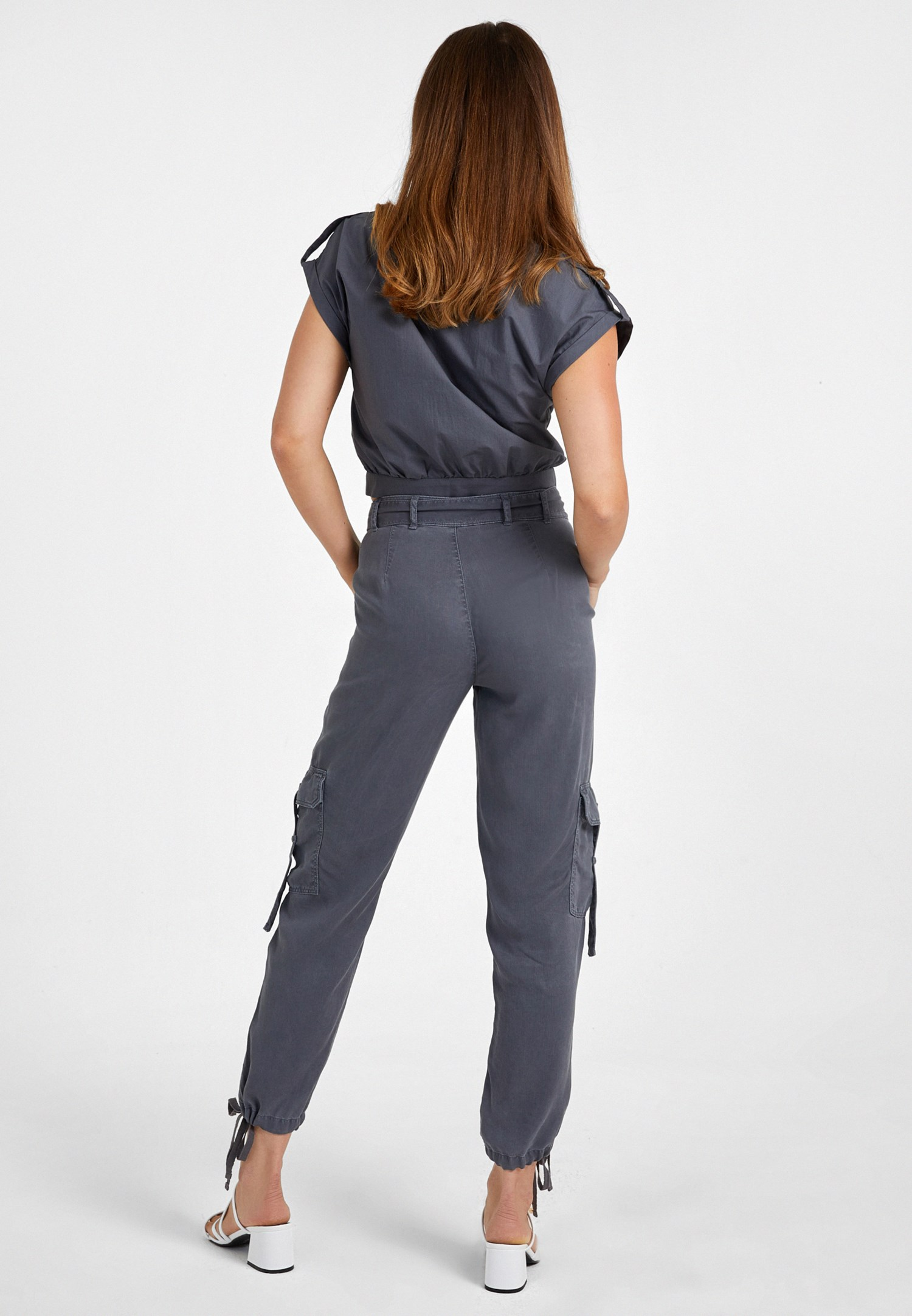 Bayan Gri Cep Detaylı Kargo Pantolon