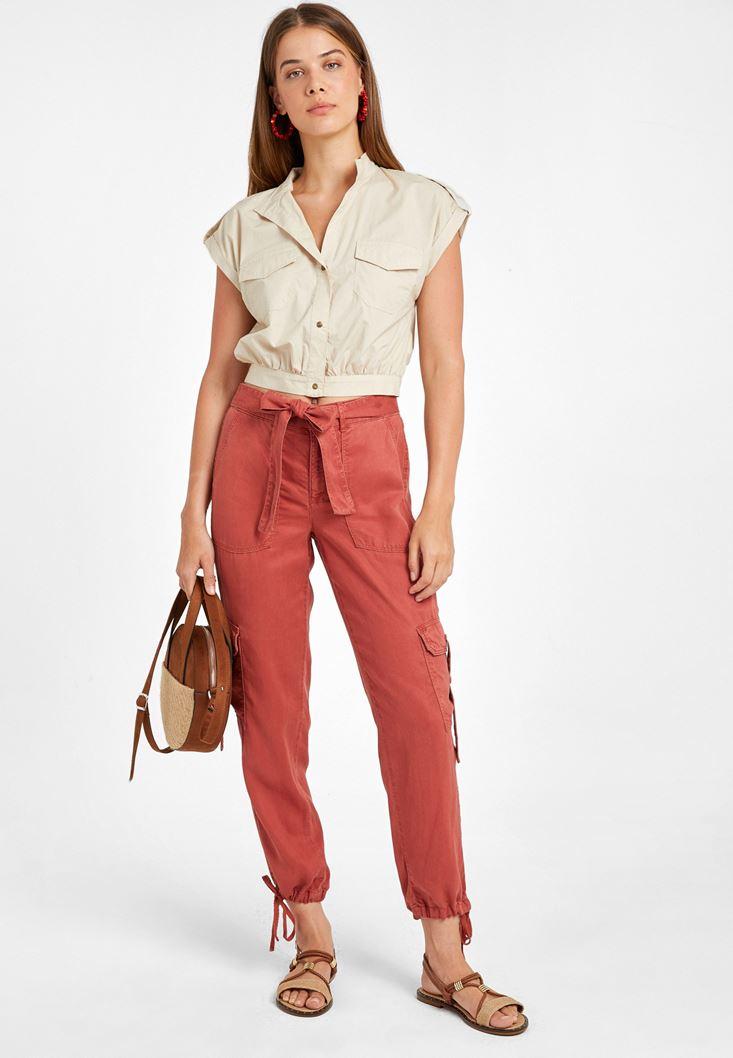 Kahverengi Cep Detaylı Kargo Pantolon
