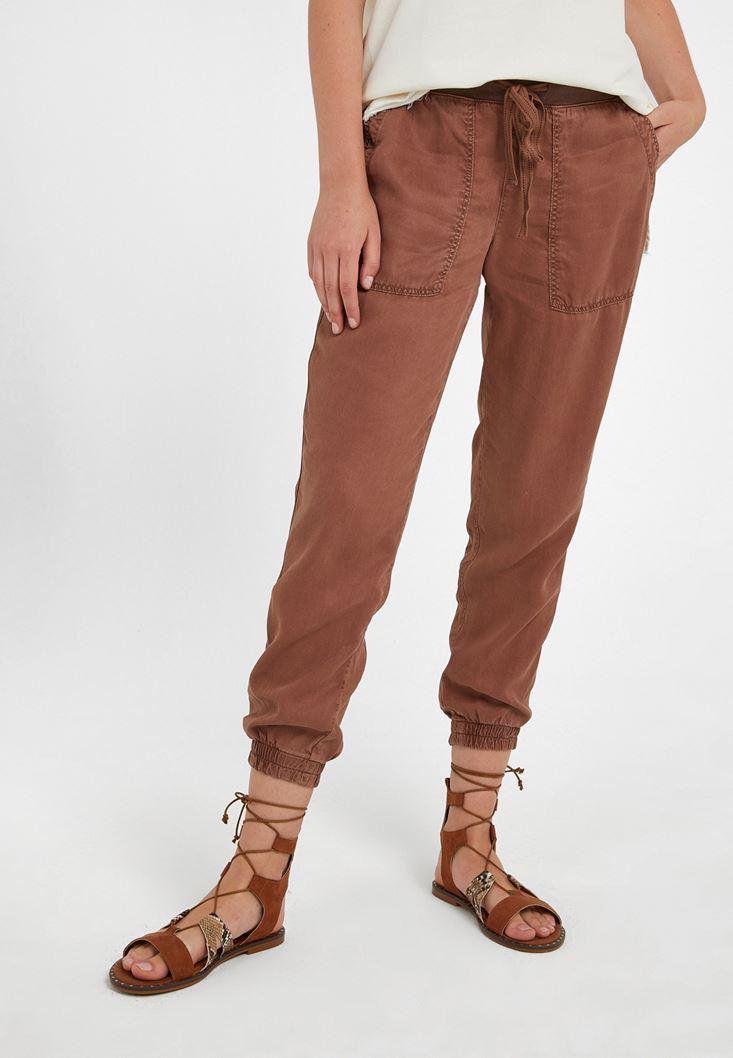 Kahverengi Beli Lastik Detaylı Jogger Pantolon