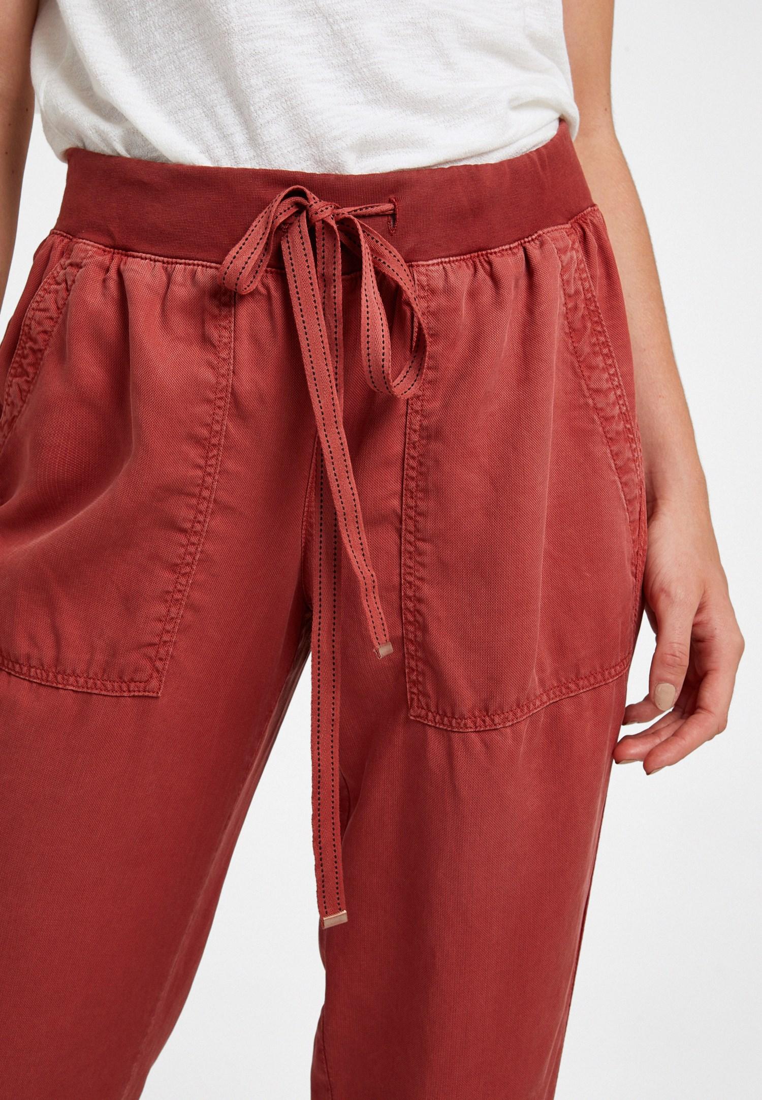 Bayan Kiremit Beli Lastik Detaylı Jogger Pantolon
