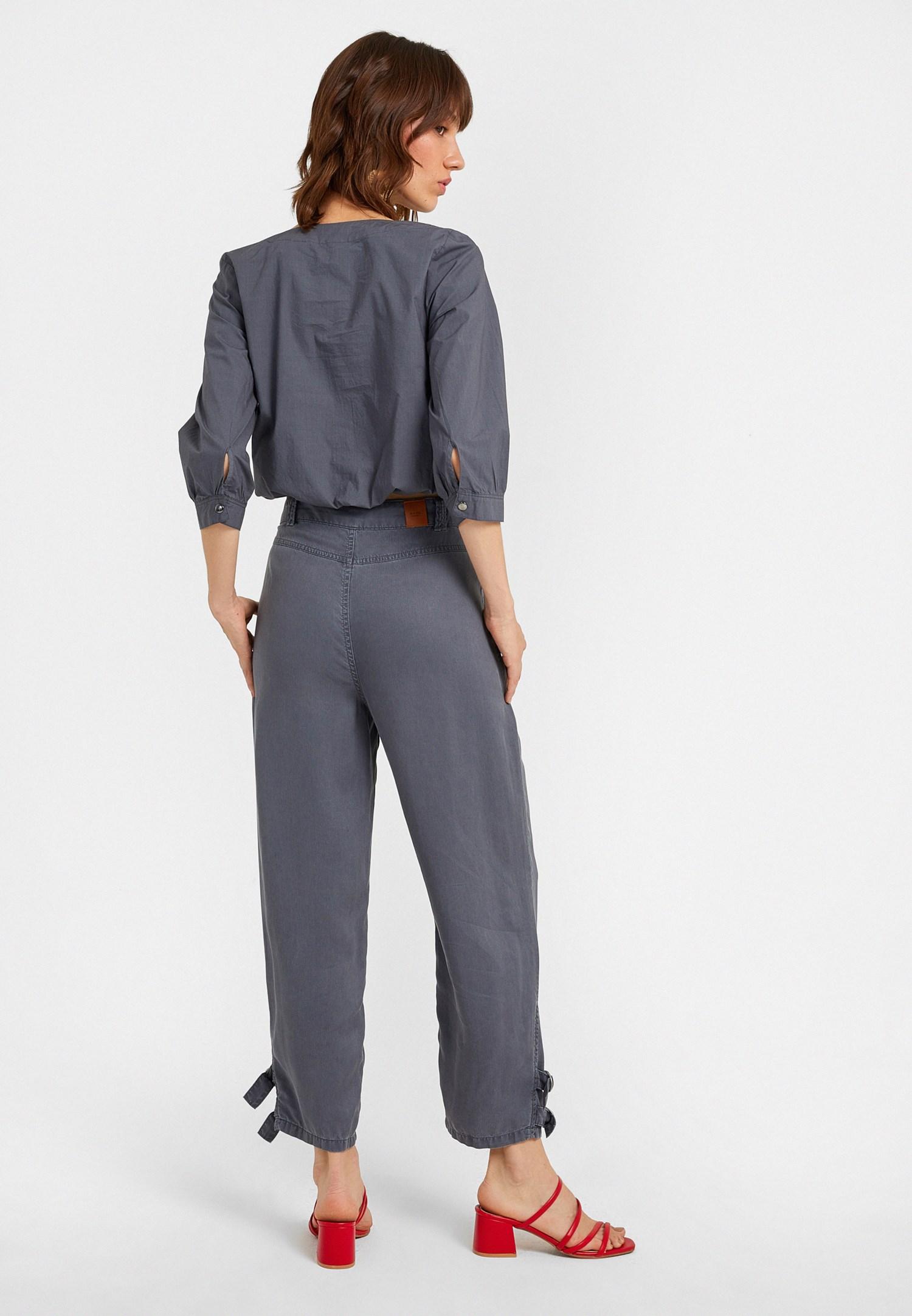 Bayan Gri Paça Detaylı Yüksek Bel Havuç Pantolon