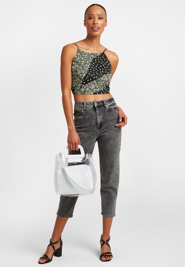 Crop Top ve Denim Pantolon Kombini