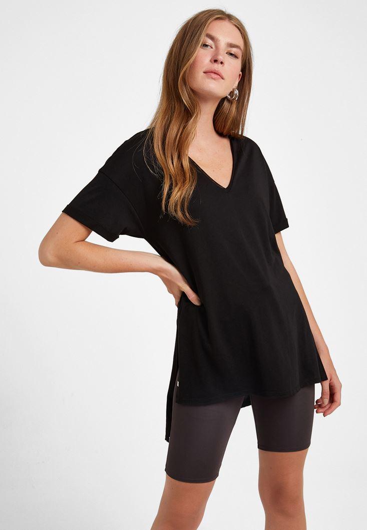 Siyah V Yaka Oversize Tişört