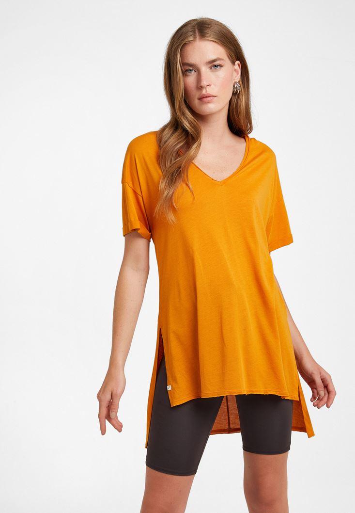 Turuncu V Yaka Oversize Tişört