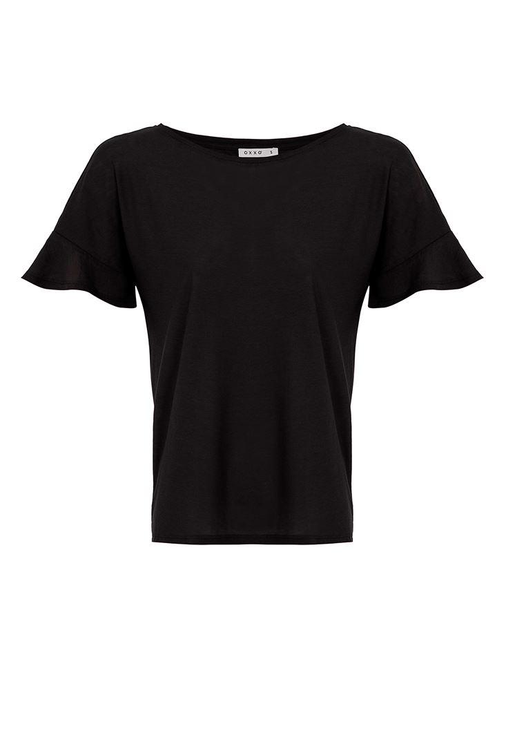 Sıfır Yaka Kolları Fırfırlı Tişört