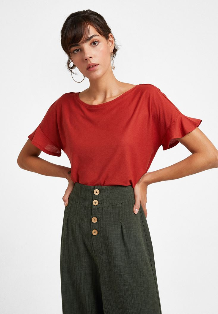 Bordeaux T-Shirt with Ruffled Sleeve