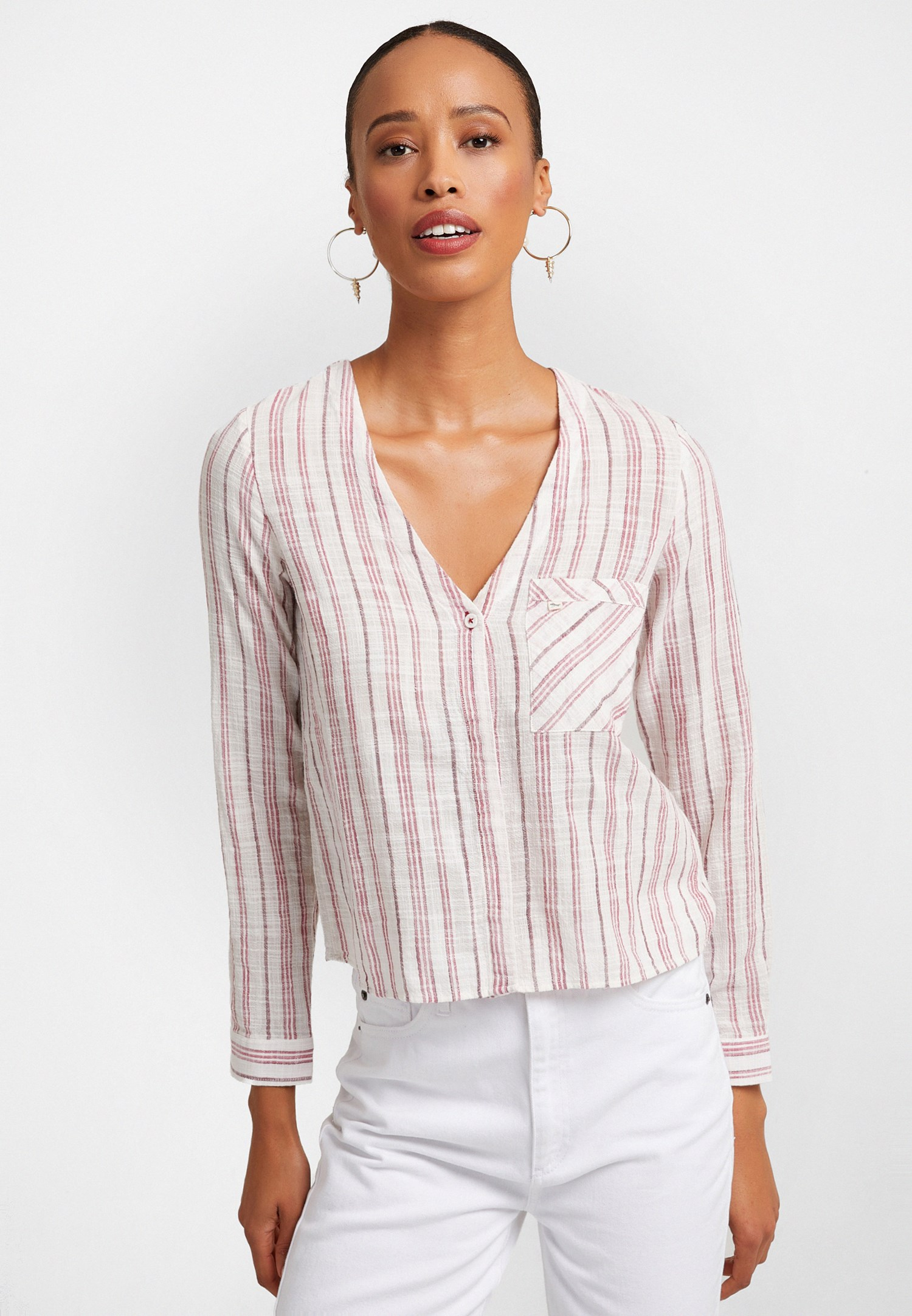 Bayan Çok Renkli V Yaka Çizgili Gömlek