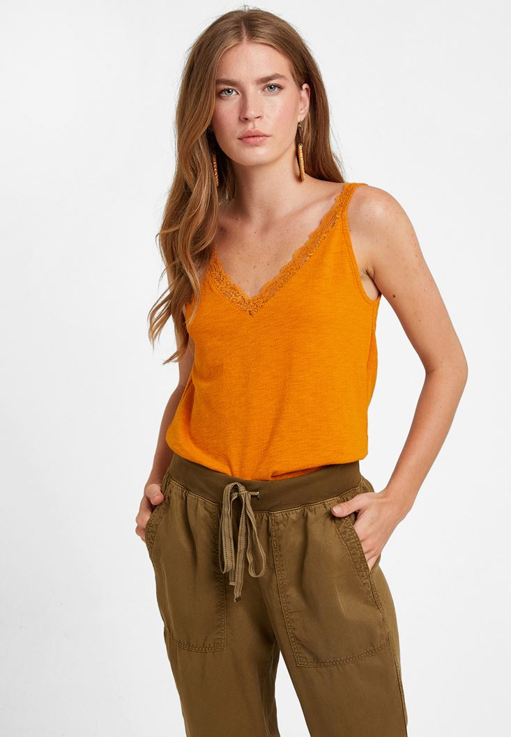 Orange V-Neck Top with Lace Detail