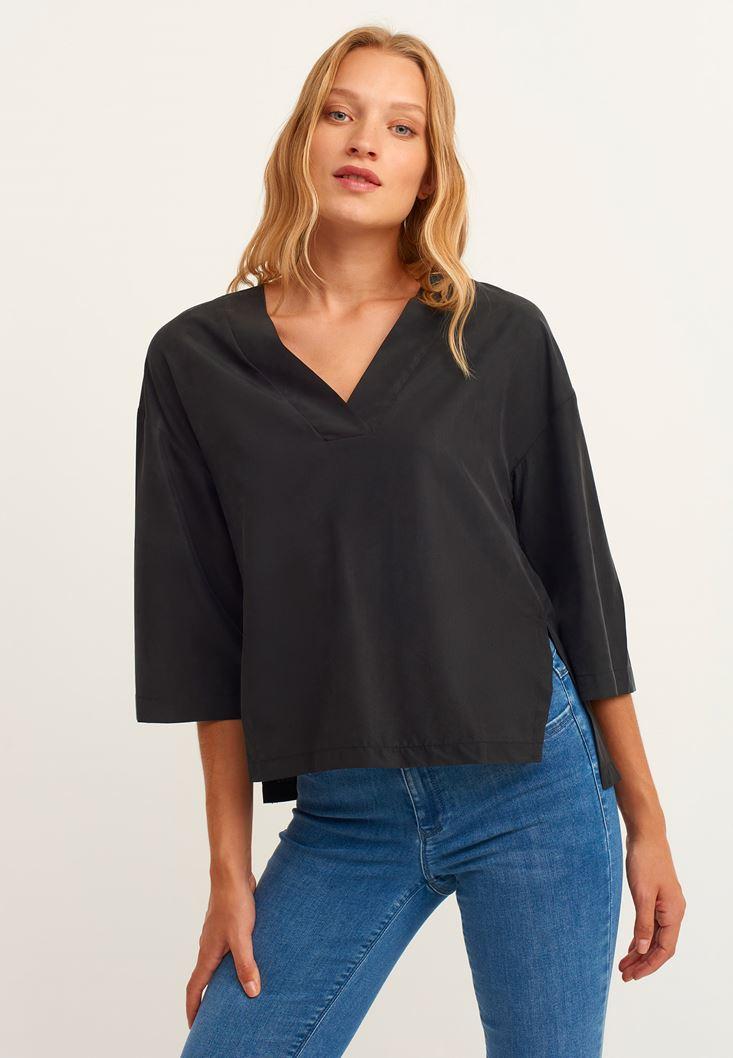 Siyah V Yaka Uzun Kollu Gömlek