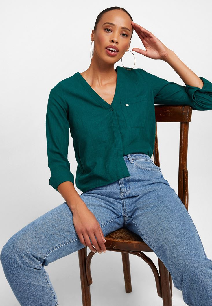 Yeşil V Yaka Uzun Kollu Gömlek