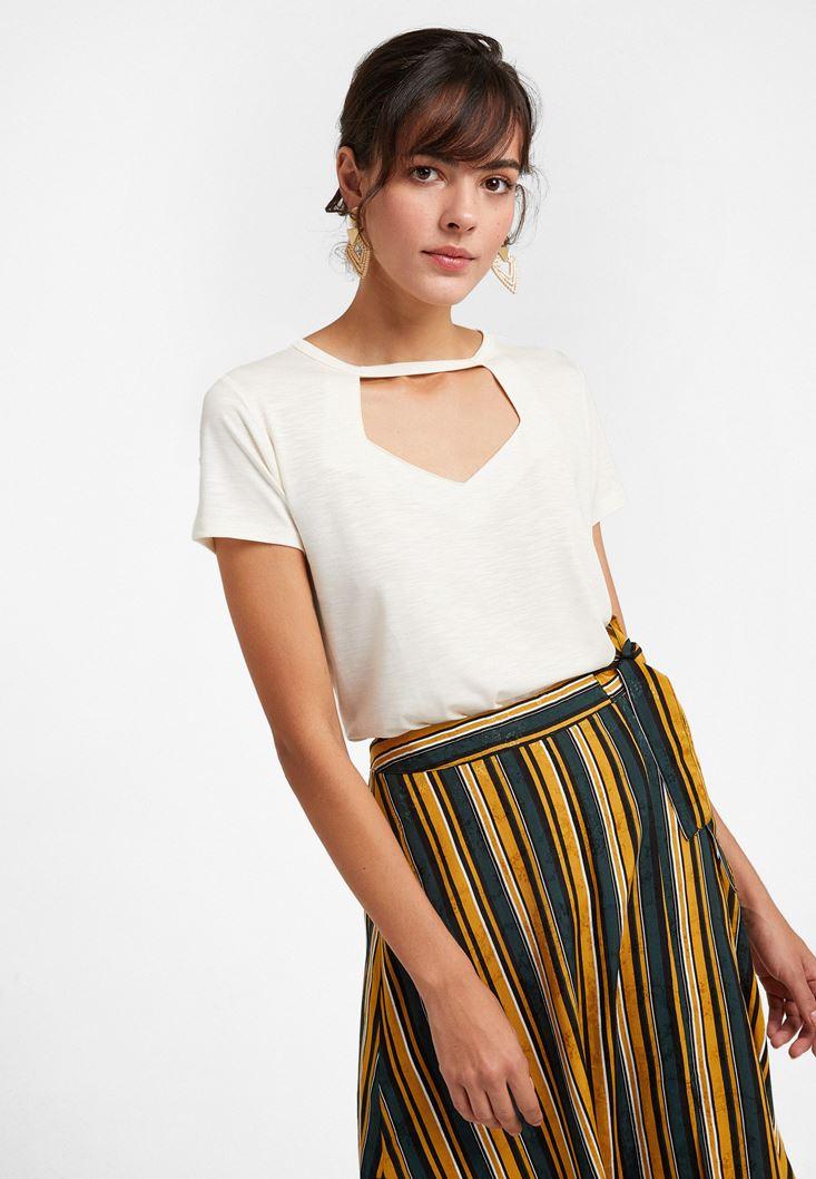 Cream Cut-out Detailed Soft T-Shirt