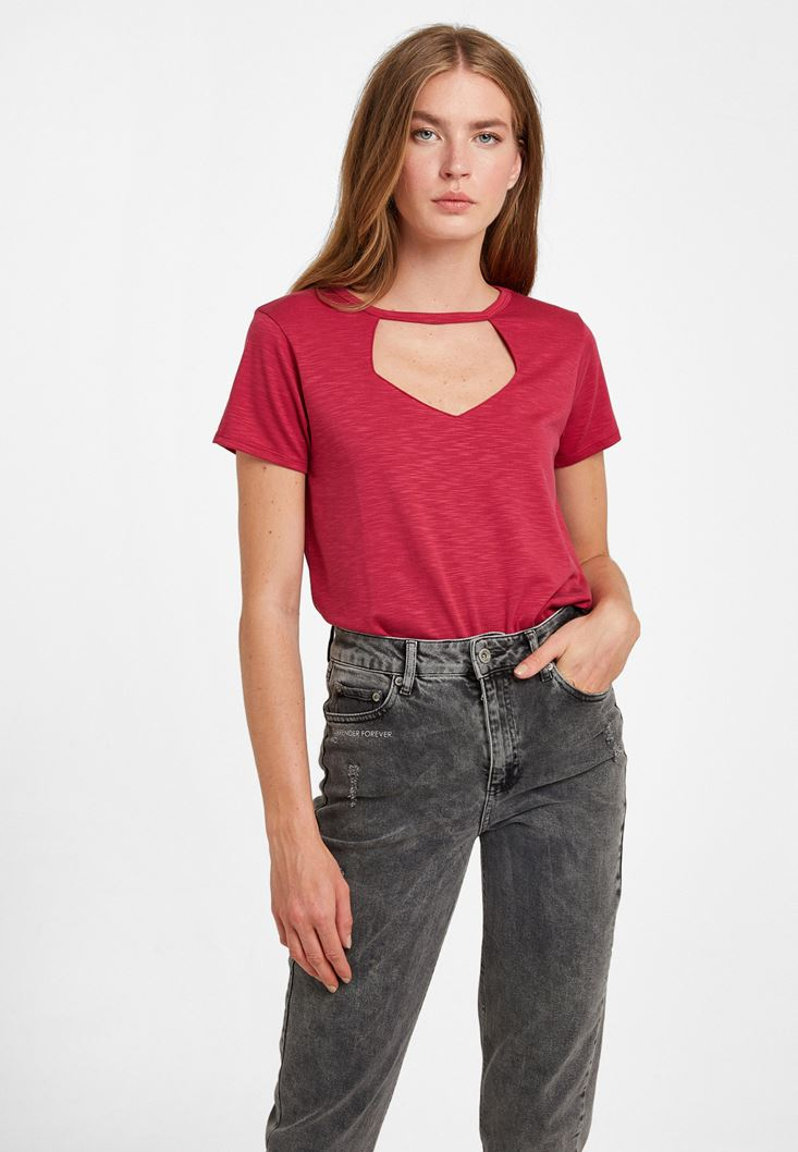 Pink Cut-out Detailed Soft T-Shirt