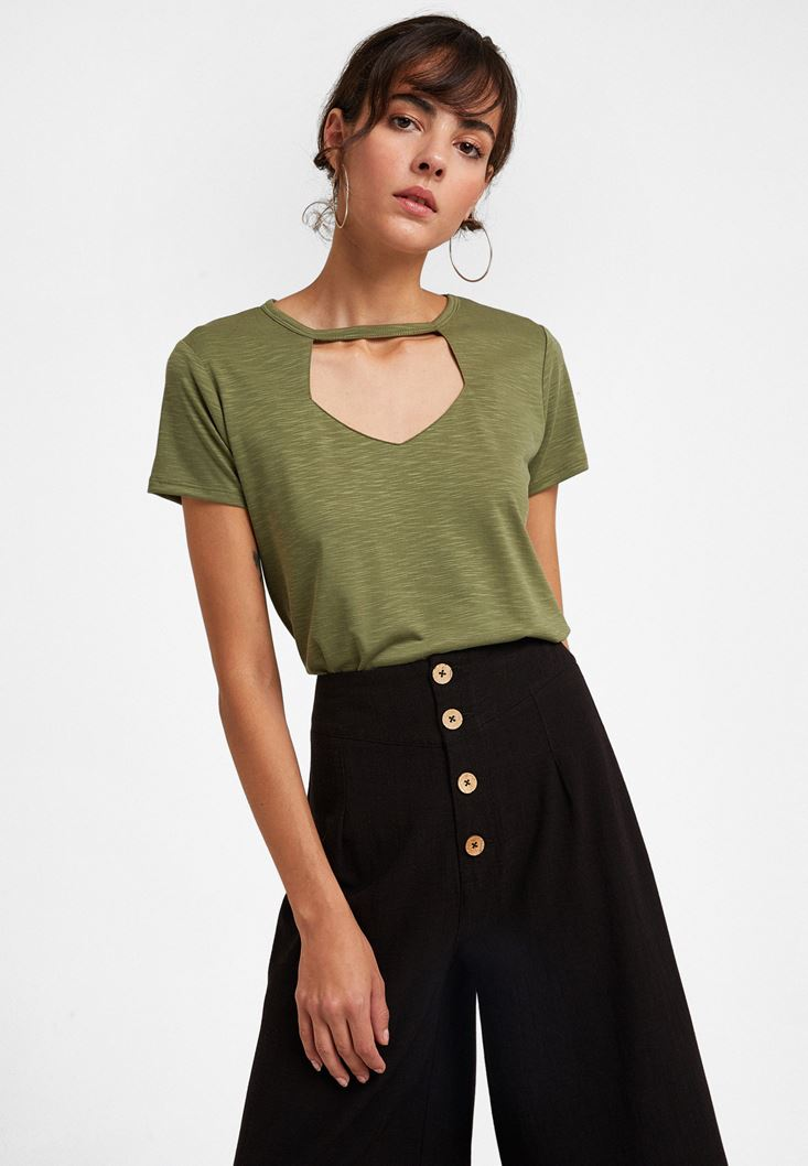 Green Cut-out Detailed Soft T-Shirt