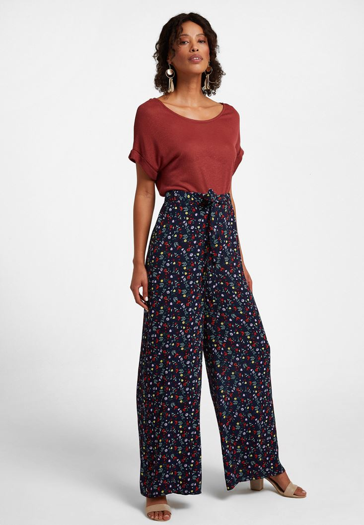 Çok Renkli Bol Paça Desenli Pantolon