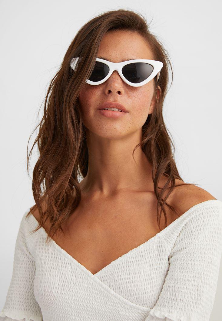 Beyaz Cat-Eye Güneş Gözlüğü