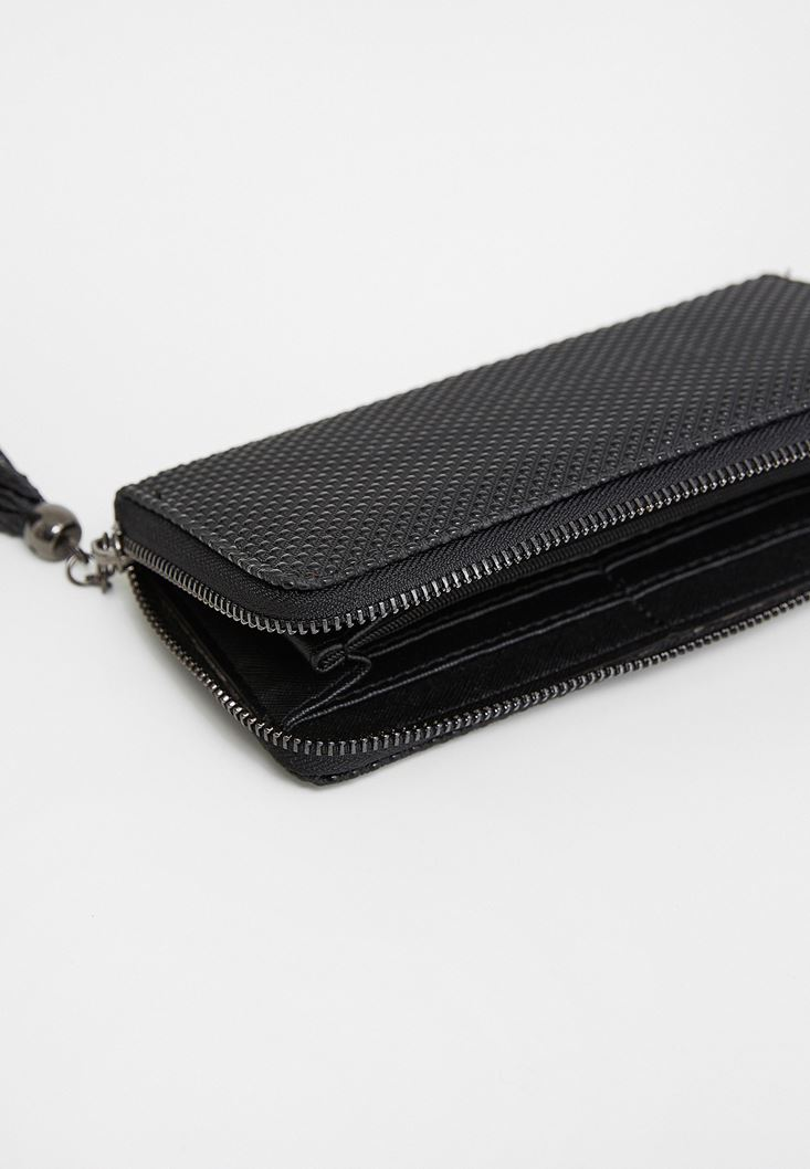 Black Fringe Wallet with Dot Details