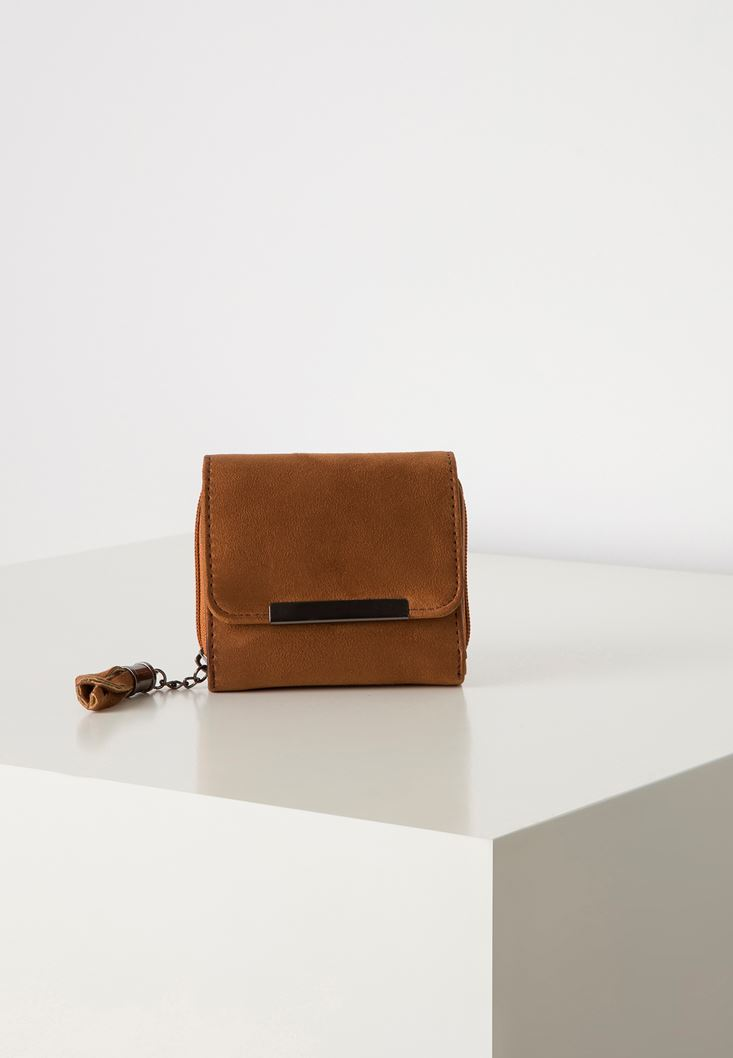 Brown Suede Wallet with Fringe Detail