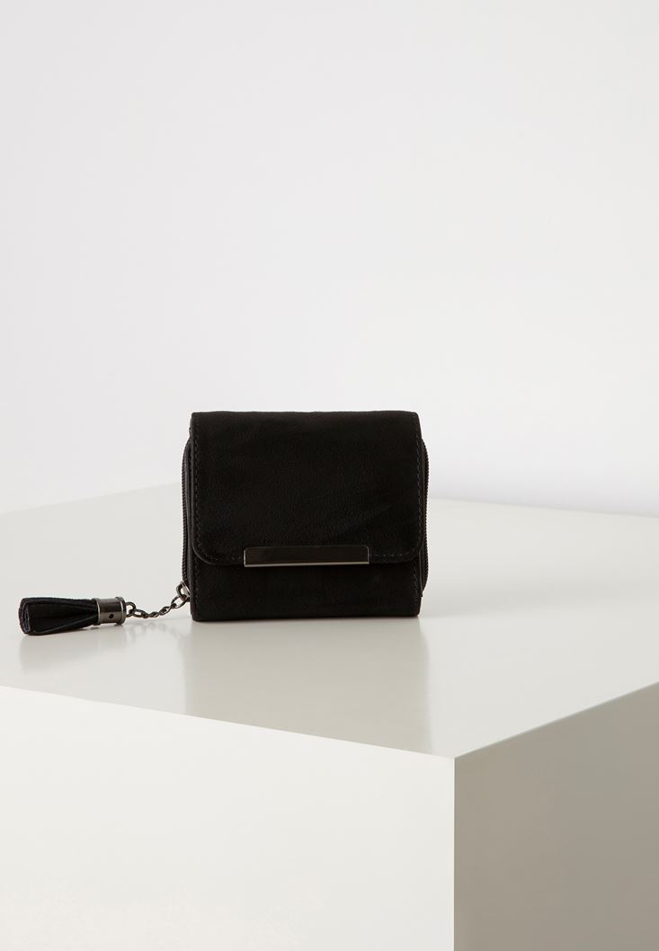 Black Suede Wallet with Fringe Detail