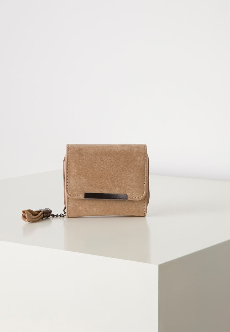 Cream Suede Wallet with Fringe Detail