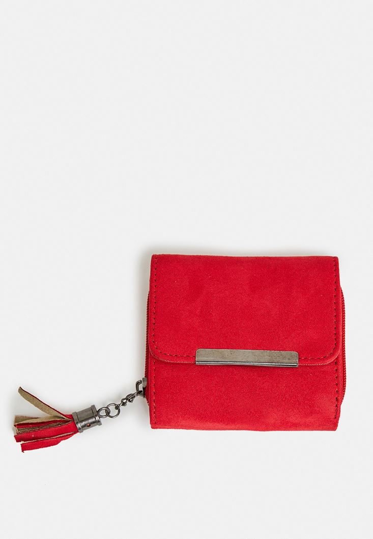 Red Suede Wallet with Fringe Detail