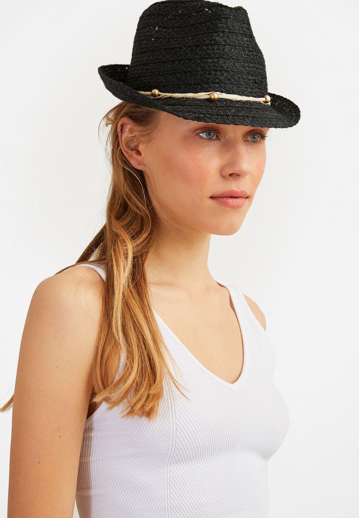 Siyah İp Detaylı Hasır Şapka