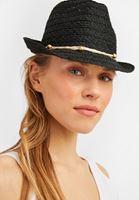 Bayan Siyah İp Detaylı Hasır Şapka