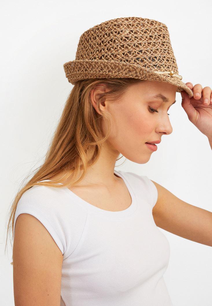 Kahverengi İp Detaylı Hasır Şapka