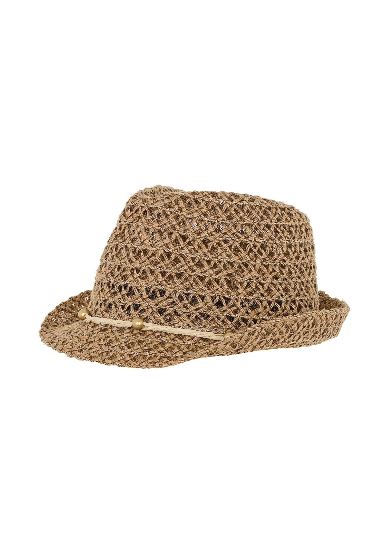 Bayan Kahverengi İp Detaylı Hasır Şapka