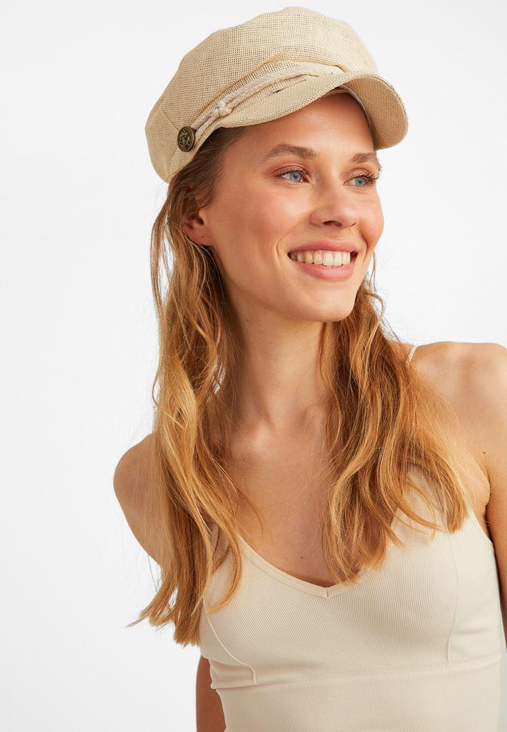 Krem Hasır Şapka