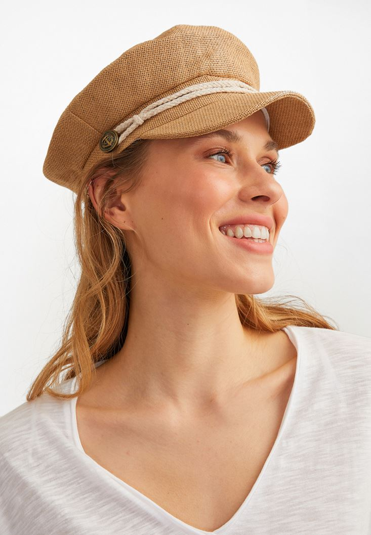 Brown Straw Cap
