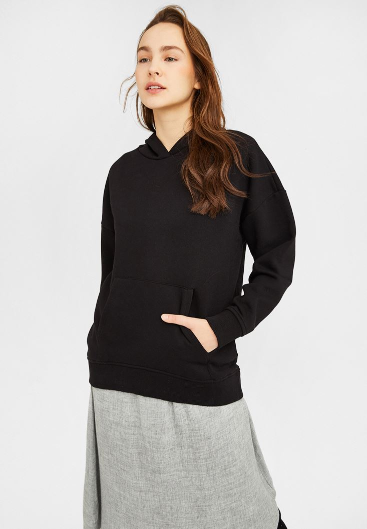 Black Oversize Sweatshirt with Hood