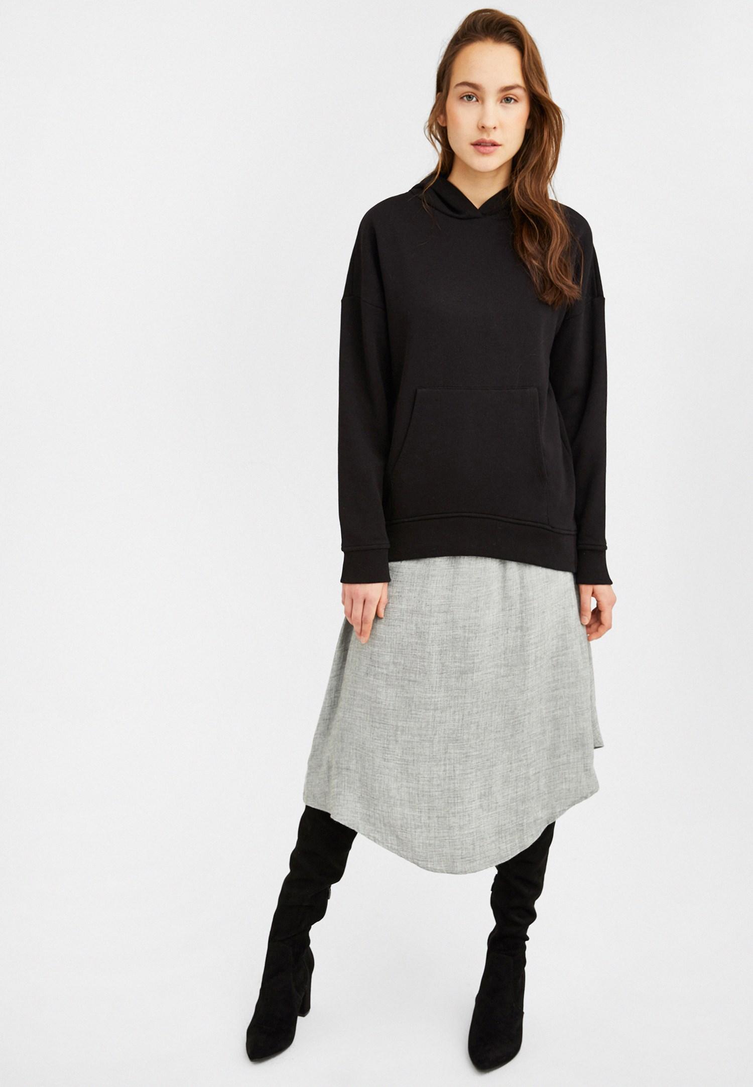 Bayan Siyah Kapüşonlu Oversize Sweatshirt