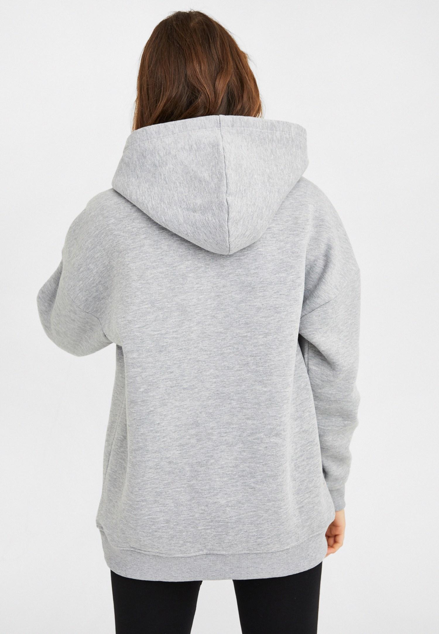 Bayan Gri Kapüşonlu Oversize Sweatshirt