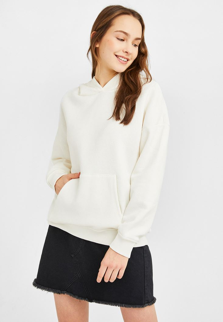 Cream Oversize Sweatshirt with Hood