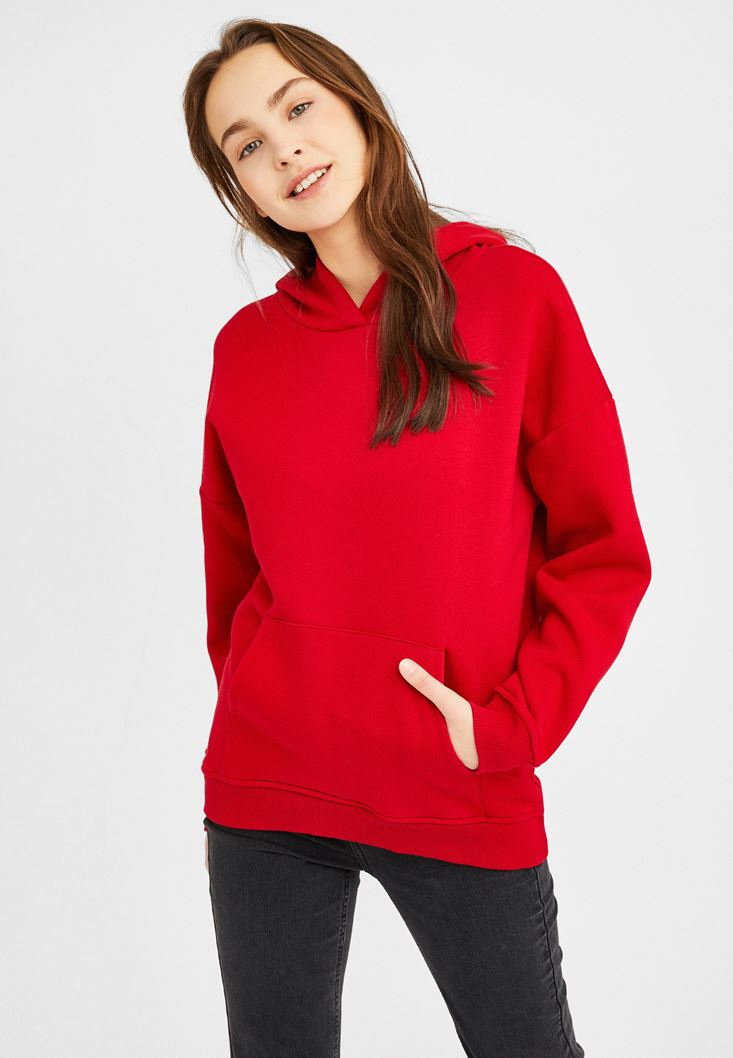 Red Oversize Sweatshirt with Hood