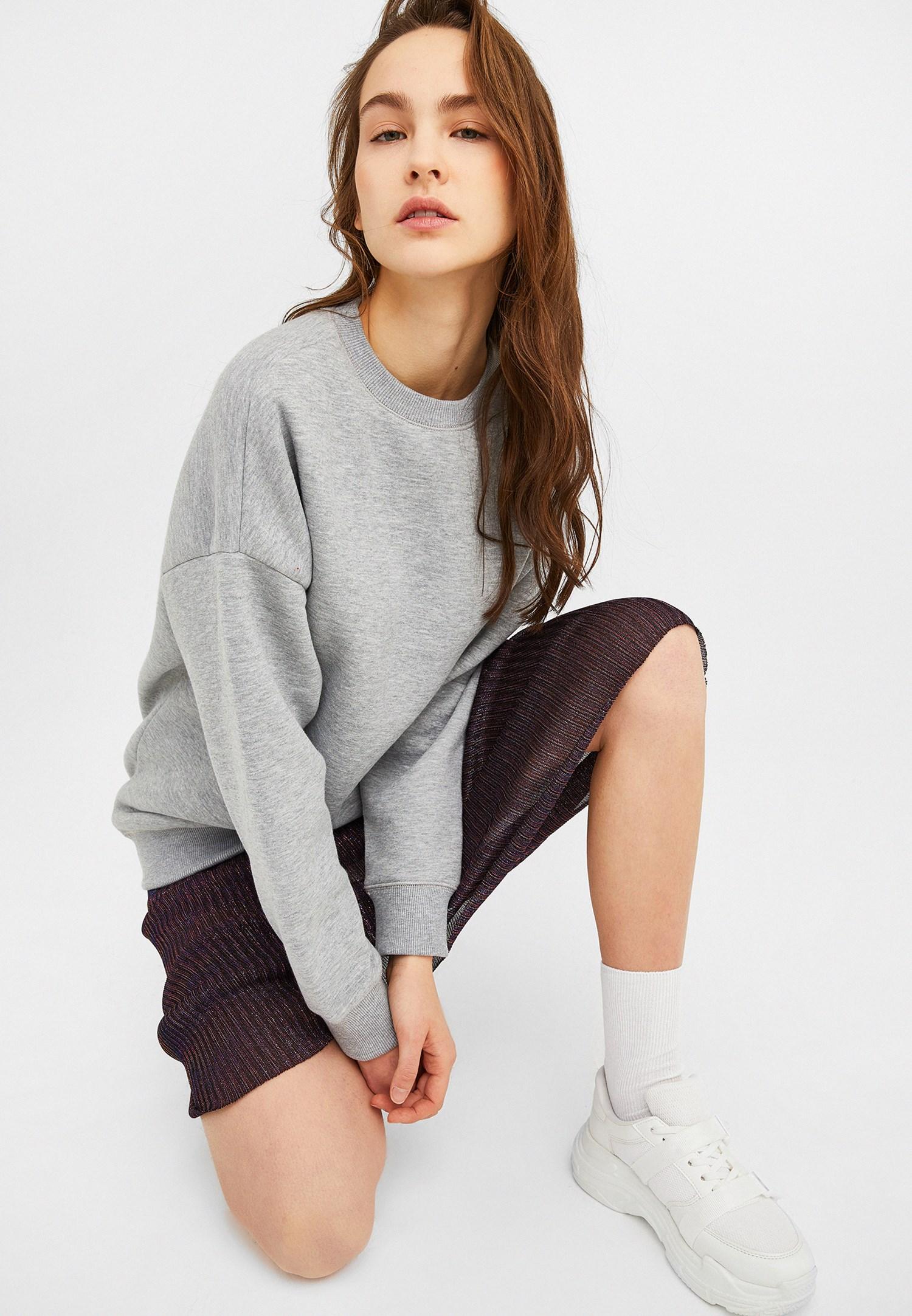 Bayan Gri Oversize Sweatshirt