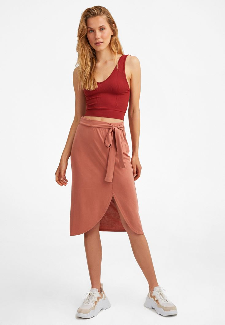 Orange Extra Soft Midi Skirt