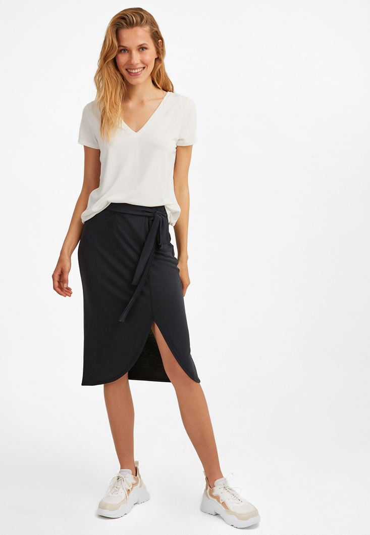 Black Extra Soft Midi Skirt
