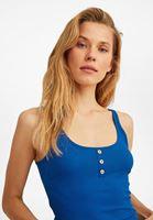 Bayan Mavi Düğme Detaylı Atlet