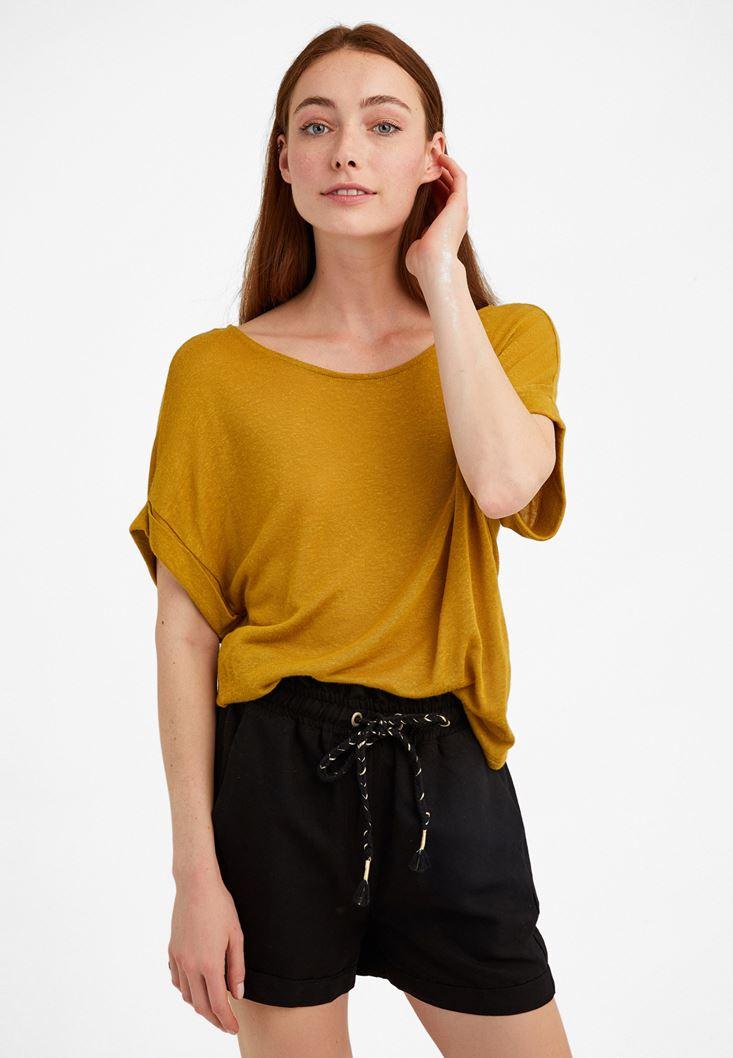 Sarı Bot Yaka Keten Tişört