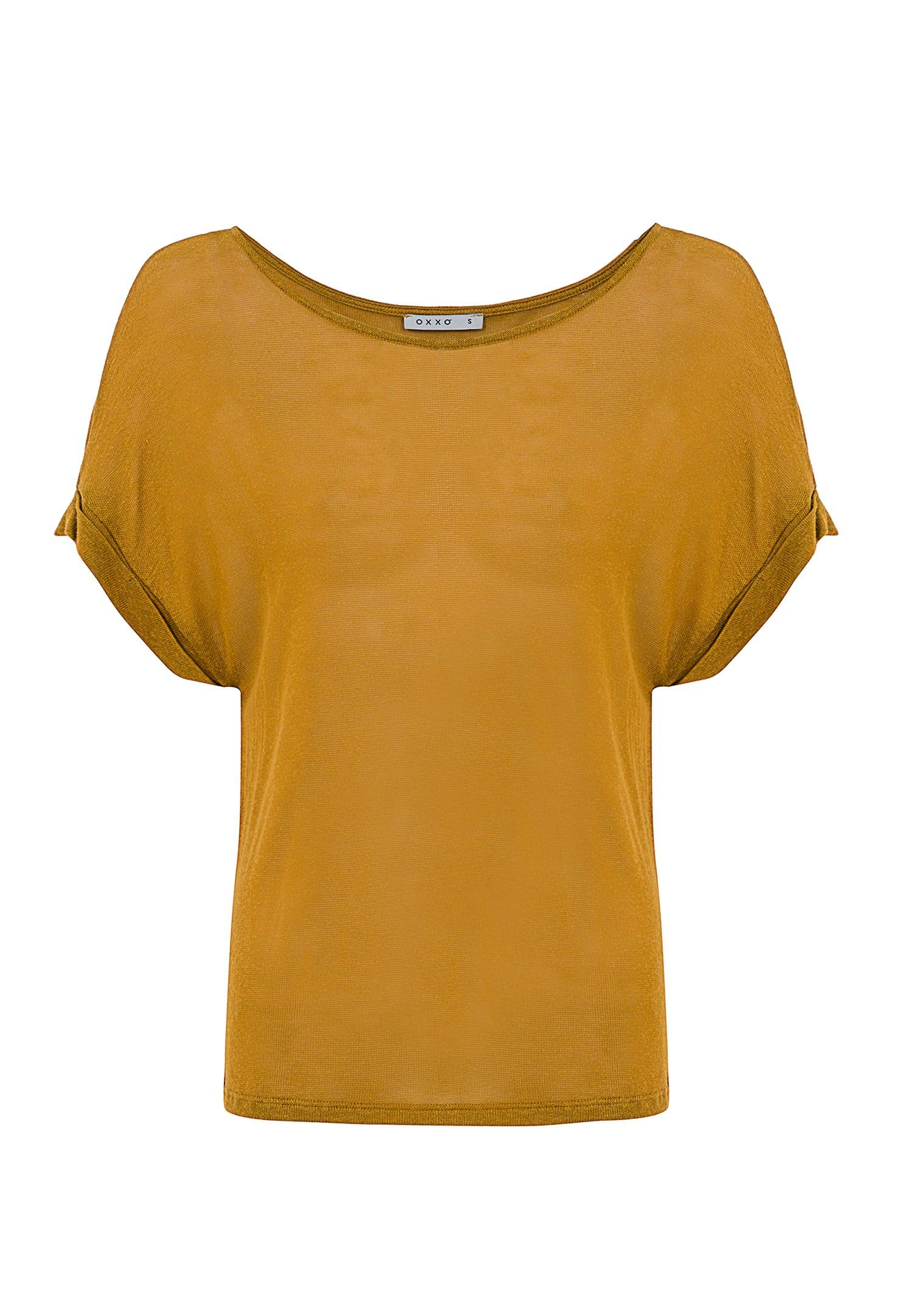 Bayan Sarı Bot Yaka Keten Tişört