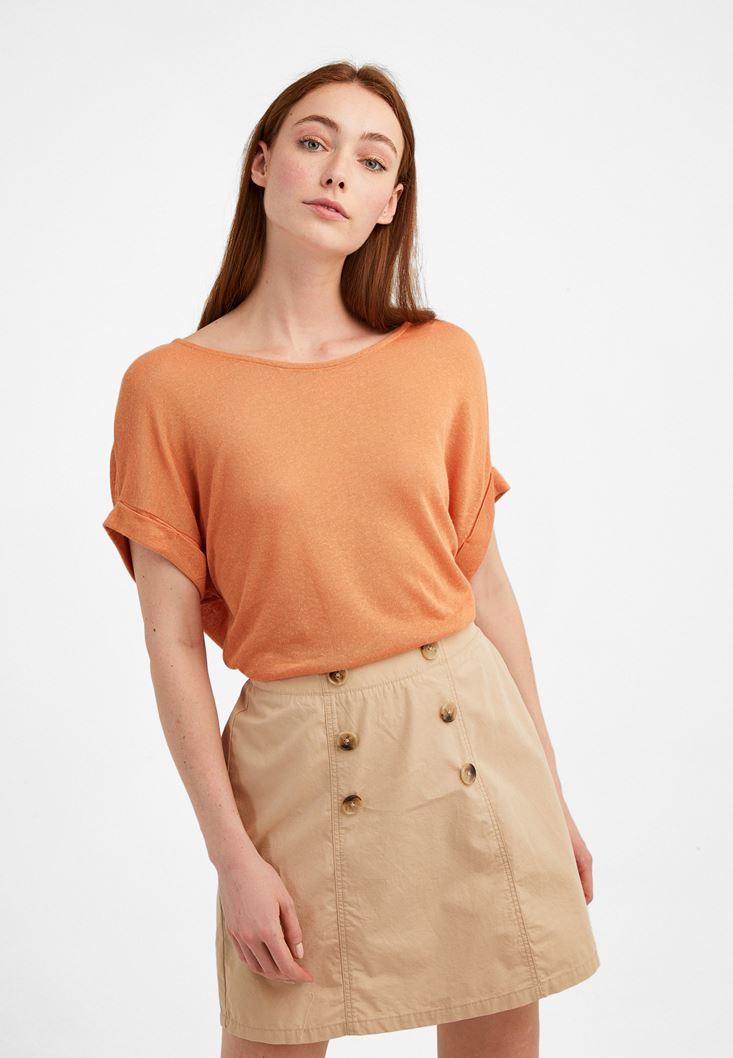 Orange Boat Neck T-Shirt