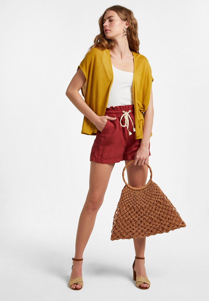 Yellow Linen-Blended Cardigan