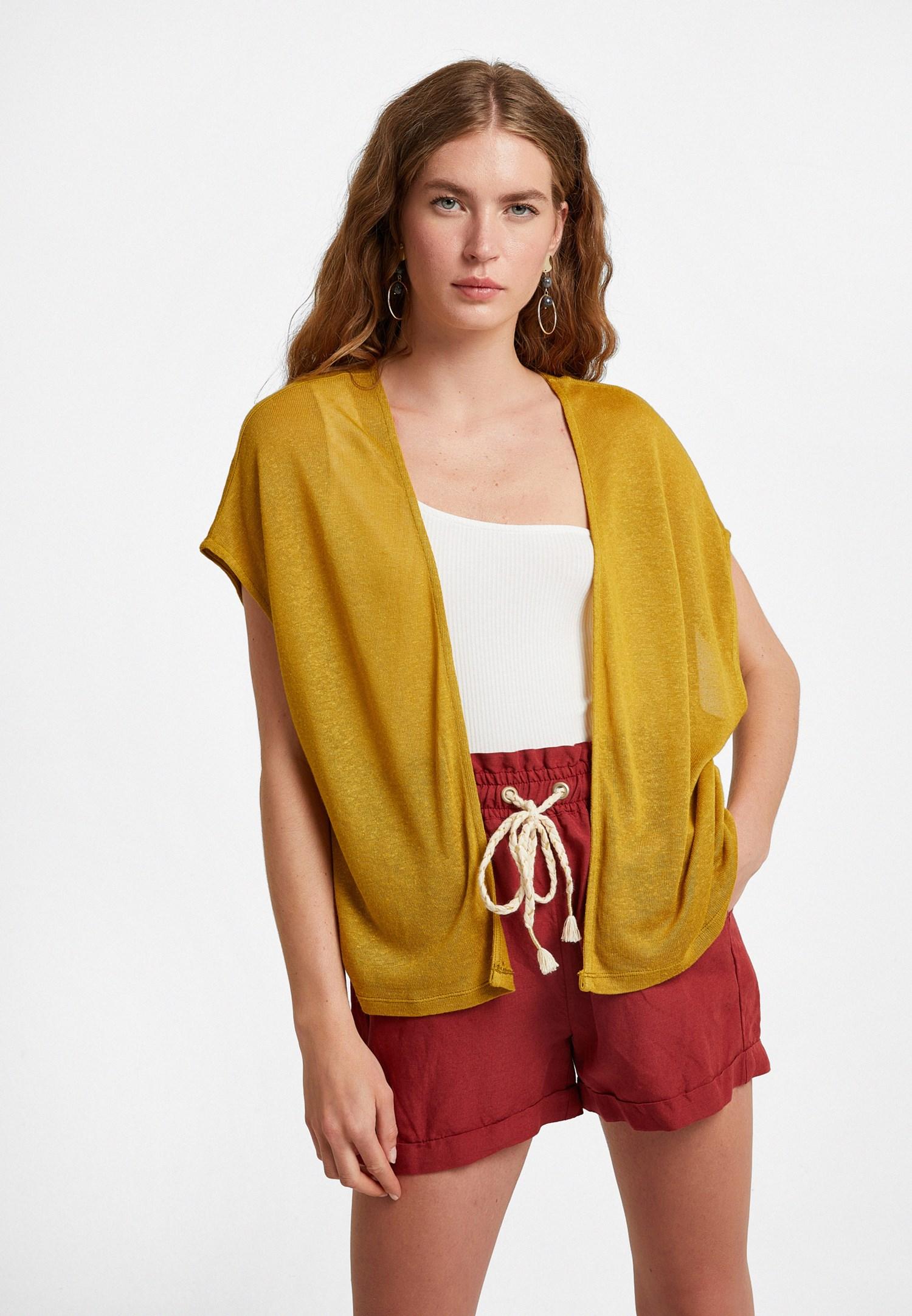 Bayan Sarı Keten Karışımlı Kısa Hırka
