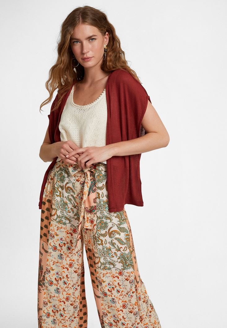 Bordeaux Linen-Blended Cardigan